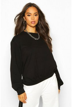 Womens Black Tie Hem Crew Neck Crop Sweatshirt