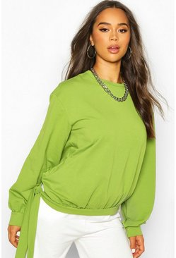 Womens Olive Tie Hem Crew Neck Crop Sweatshirt
