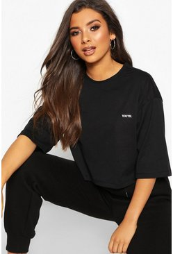 Womens Black Boxy Crop Micro Slogan T-Shirt
