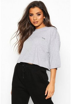 Womens Grey Boxy Crop Micro Slogan T-Shirt
