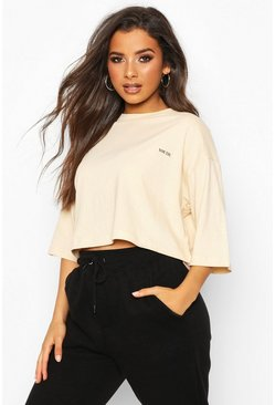 Womens Stone Boxy Crop Micro Slogan T-Shirt