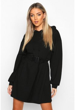 Womens Black Belt Buckle Detail Hoodie Dress