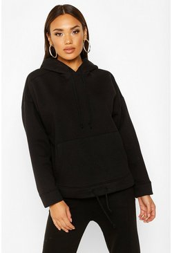 Womens Black Oversized Pocket Front Drawcord Detail Hoodie