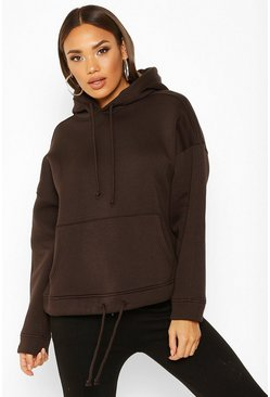 Toffee Oversized Pocket Front Drawcord Detail Hoodie
