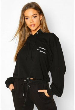 Womens Black Wear Me Oversize Crop Hoodie