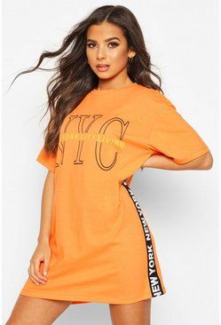 Orange New York Graphic Print T-Shirt Dress