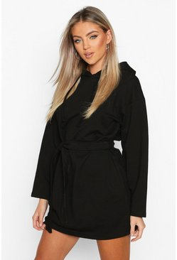 Womens Black Belted Tie Detail Hooded Mini Sweat Dress