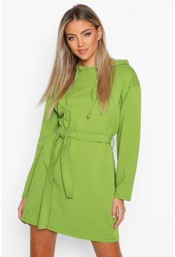 Womens Olive Belted Tie Detail Hooded Mini Sweat Dress