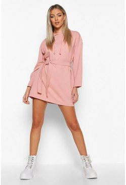 Womens Salmon Belted Tie Detail Hooded Mini Sweat Dress