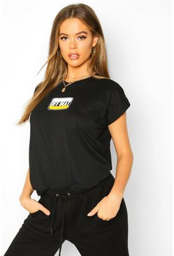 T-shirt con scritta stampata Off Beat, Nero, Femmina
