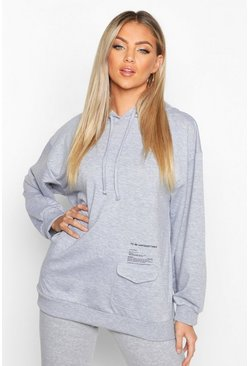Womens Light grey Pocket Detail Placement Print Hoodie
