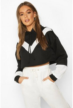 Womens Black Colour Block V Front Crop Hoodie