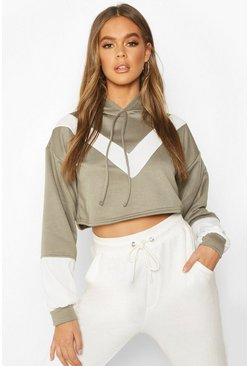 Womens Sage Colour Block V Front Crop Hoodie