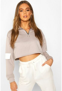 Womens Light grey Half Zip Colour Block Sweatshirt