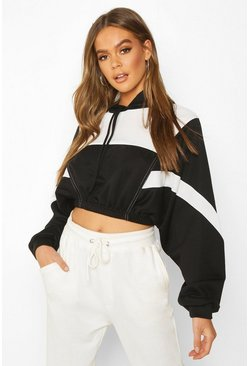 Womens Black Colour Block Detail Crop Hoodie