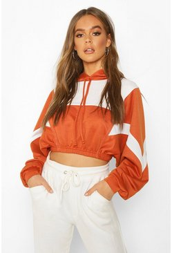 Terracotta Colour Block Detail Crop Hoodie