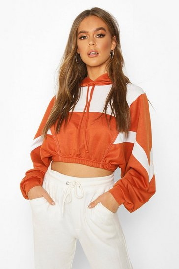 Womens Terracotta Colour Block Detail Crop Hoodie