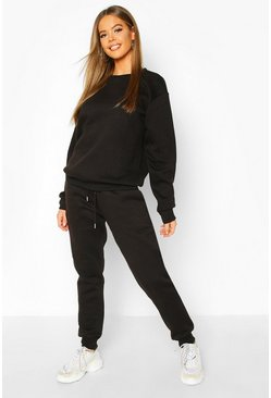 Womens Black Basic Jogging Bottom