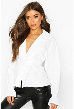 Womens White Button Through Belted Long Sleeve Blouse