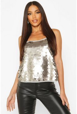 Slate Sequin Cross Back Cami