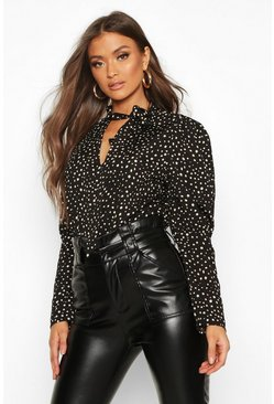 Black Spot Print Puff Sleeve Blouse