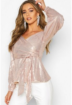 Womens Rose gold Sequin Tie Waist Over The Shoulder Top