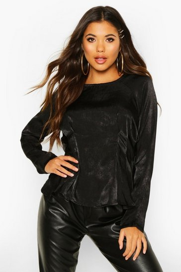 Womens Black Satin Pleat Front Fitted Blouse
