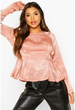 Dam Rose Satin Pleat Front Fitted Blouse