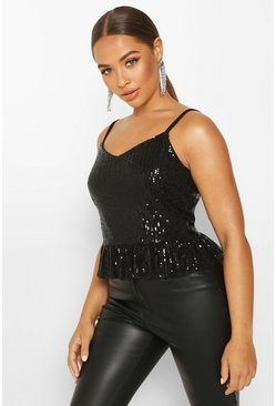 Womens Black Sequin Peplum Cami