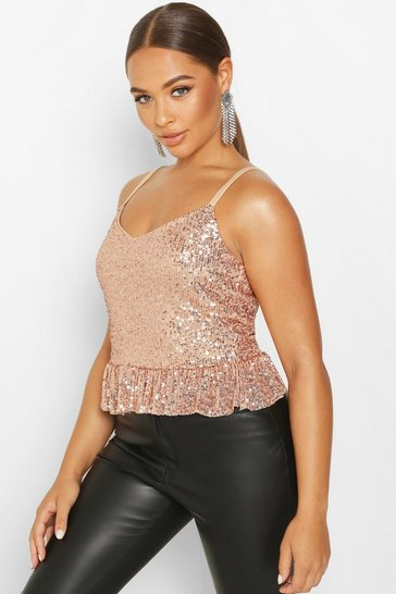 Womens Gold Sequin Peplum Cami