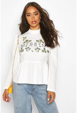 Womens White Embroidered High Neck Puff Sleeve Peplum Top