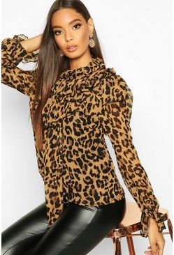 Womens Brown Leopard Print High Neck Pussybow Blouse