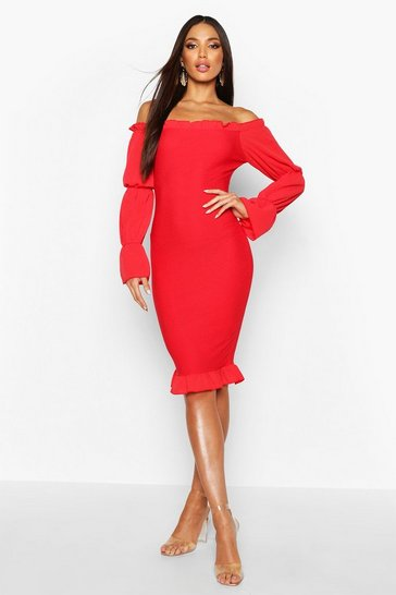 Womens Red Shirred Bodycon Dress With Tiered Sleeves