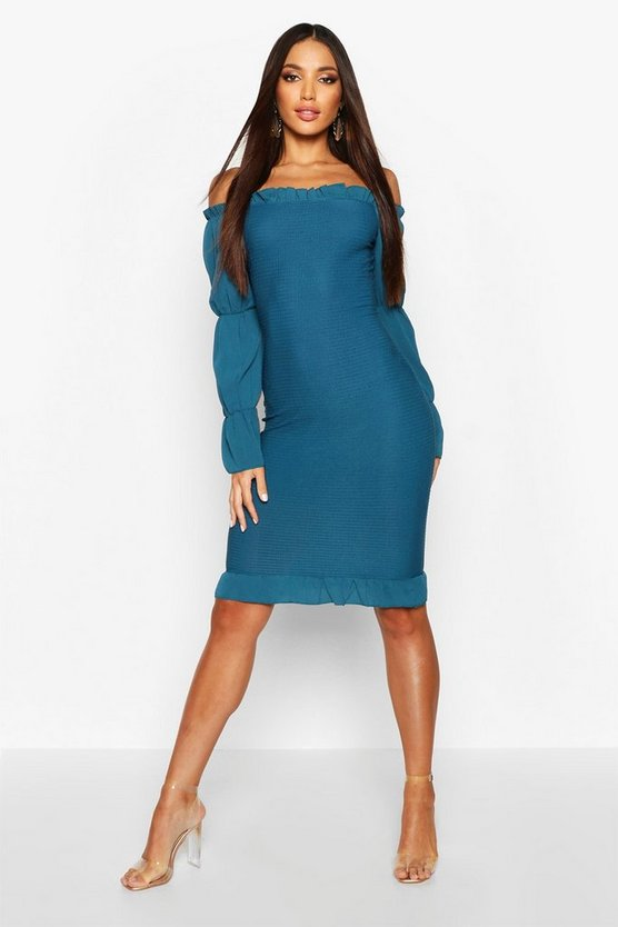Shirred Bodycon Dress With Tiered Sleeves