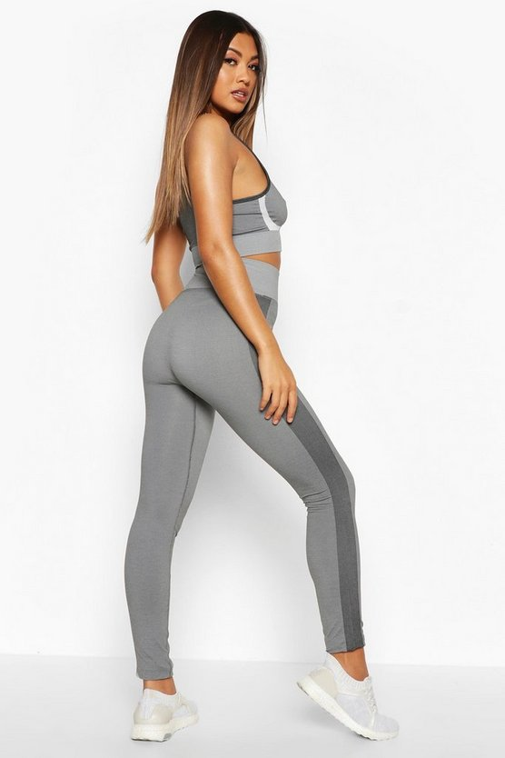 Fit Seamless Knit Side Panel High Waist Woman Legging