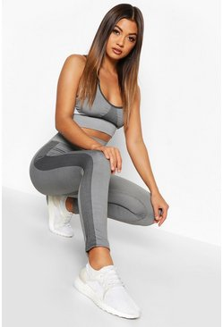 Charcoal Fit Seamless Knit Side Panel High Waist Woman Legging