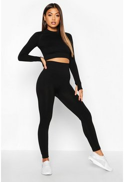 Womens Black Fit Seamless Knit High Waist Woman Active Legging