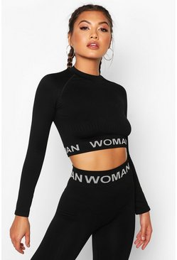 Womens Black Fit Contrast Seamless Knit Woman Active Crop Top