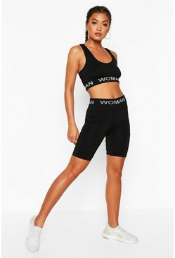 Black Fit Seamless Knit Woman Active Cycling Shorts
