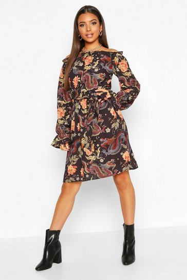 Bardot Tie Waist Dress With Bell Sleeves