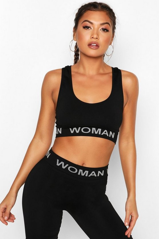 Black Fit Seamless Knit Woman Active Bralet