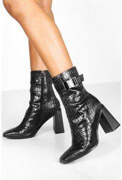 Womens Black Croc Buckle Detail Block Heel Sock Boots