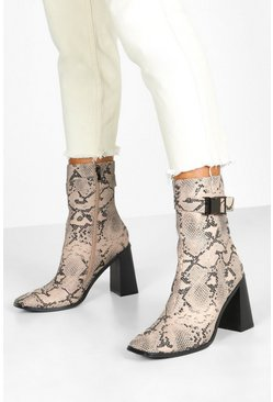 Dam Natural Snake Buckle Detail Block Heel Sock Boots
