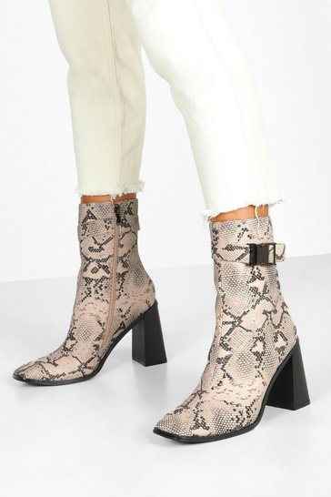 Womens Natural Snake Buckle Detail Block Heel Sock Boots