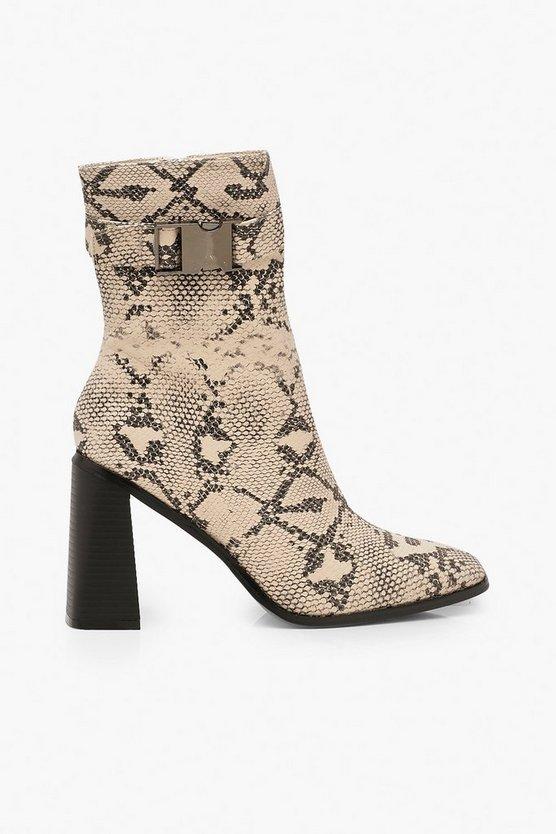 Snake Buckle Detail Block Heel Sock Boots