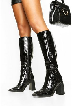 Black Square Toe Croc Block Heel Knee High Boots