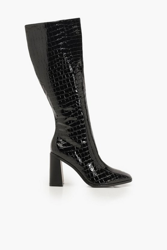 Square Toe Croc Block Heel Knee High Boots