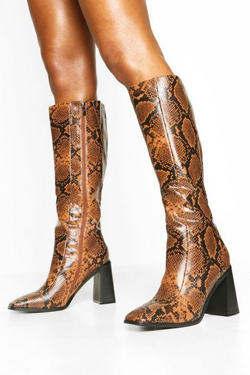 Womens Brown Square Toe Snake Block Heel Knee High Boots