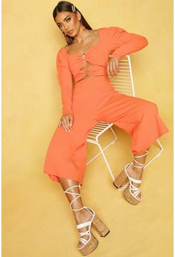 Womens Apricot O Ring Culotte Jumpsuit