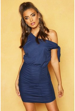 Womens Navy Linen Knot Detail Bodycon Mini Dress